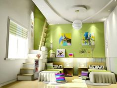 green and bright. THIS IS SOOO COOL... THE STAIRS/LADDER LEAD TO THE PLAY/GAME ROOM?