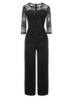 fa1ceaf1328 Mystry Zone Women s Elegant Lace Top Jumpsuits High Waist Wide Leg Long  Romper Pants Fitted Jumpsuit