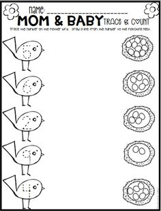 Spring Math and Literacy Printables and Worksheets for Pre-K and Kindergarten - Preschool Children Activities Preschool Printables, Preschool Lessons, Preschool Learning, Kindergarten Worksheets, Worksheets For Preschoolers, Preschool Themes, Math Lessons, Kindergarten Homework, Kindergarten Rocks