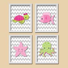 Nautical Girl Ocean Sea Pink Green Star Fish Turtle Cute Set of 4 Prints Wall Decor Art Child Bathroom Decor via Etsy