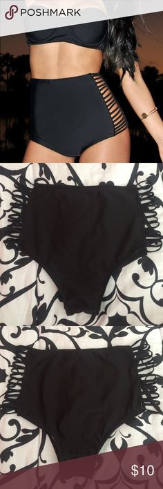 BRAND NEW Black High Waisted Bikini Bottoms Cute black high waisted swim bottoms with cut out sides. NWOT . BRAND NEW & UNWORN. Original plastic hygienic liner still attached. Size large. Pricing is negotiable, free to make an offer using the offer button!✨ Swim Bikinis