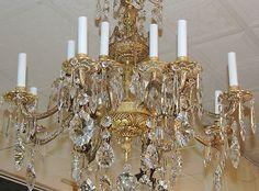 Exquisite Antique Bronze & Brass Crystal Chandelier, 10-arm lighting fixture