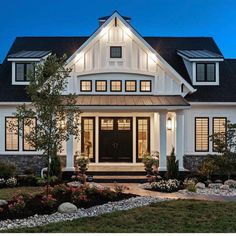 Like windows above entry exterior HGTV Dream Home Front Yard Pictures Style At Home, Br House, Modern Farmhouse Exterior, Farmhouse Decor, Craftsman Home Exterior, Exterior Homes, Urban Farmhouse, Dream House Exterior, Farm House Exteriors