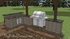 "Grill Station 64P + Bar Design | Your Choice of Roll Around Grills up to 60"" Wide 