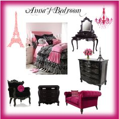 Anna's Paris Bedroom, created by jblkal82 on Polyvore