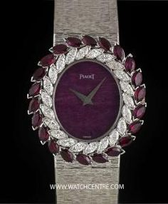 piaget w g rhodochrosite dial diamond ruby bezel vintage ladies 9345 a 6 An White Gold Vintage Ladies Wristwatch, rhodochrosite dial, a fixed white gold bezel set with 22 marquise cut diamonds and 22 marquise cut ru - Watchcentre Luxury Jewelry, Bling Jewelry, Latest Women Watches, Gift Box Birthday, Art Deco Watch, Underwater Photos, Underwater Photography, Film Photography, Wedding Photography