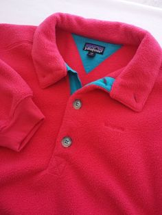 Patagonia Fleece Pullover Medium Vintage Pink with Teal contrast 3 Button Front  #Patagonia #FleecePullover