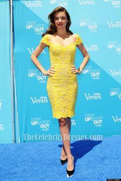 8c50c09c2374 Miranda Kerr Yellow Short Lace Cocktail Party Dresses - TheCelebrityDresses  Short Lace Dress