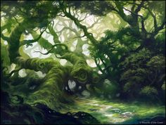 Fertile Thicket by andreasrocha MtG Magic the Gathering forest swamp jungle moss woods mana land landscape location environment architecture | Create your own roleplaying game material w/ RPG Bard: www.rpgbard.com | Writing inspiration for Dungeons and Dragons DND D&D Pathfinder PFRPG Warhammer 40k Star Wars Shadowrun Call of Cthulhu Lord of the Rings LoTR + d20 fantasy science fiction scifi horror design | Not Trusty Sword art: click artwork for source