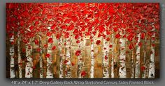 ORIGINAL Abstract Red Birch Trees Painting Impasto Aspen Landscape Oil Painting Heavy Textured Modern Palette Knife Art by Susanna 48x24. $475.00, via Etsy.