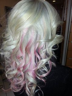 My New Look! Platinum Blonde with Pink Highlights!