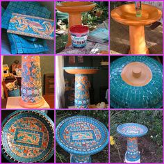 Mosaic Birdbath by Poppins Mosaics and Crafts, via Flickr