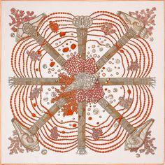 Hermes Carre 90 Scarf Stole Silk Chemins de Corail Women Luxury Auth New Hermes Paris, Designer Scarves, Scarf Design, Fuchsia, Signature Style, Textile Art, Pattern Design, Print Patterns, Textiles