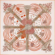 ddc574fc2991 Chemins de Corail Carré Hermes, Corail, Chemins, Echarpe, Foulard, Soie,