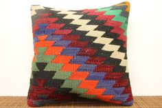 Hand woven kilim pillow cover 16 x 16 Art deco by kilimwarehouse, $45.00