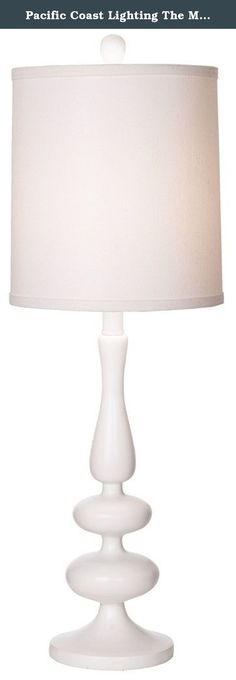 """Pacific Coast Lighting The Michelle Table Lamp in White. Features: Finish: White; Shade Type: Drum Shade; Shade Material: Linen; Socket Type: Medium Base Socket On/ Off. Specifications: Overall Product Dimensions: 29.75"""" H x 10"""" W; Overall Product Weight: 7 lbs; Shade Top: 9.5""""; Shade Bottom: 10""""; Shade Height: 11""""; Total Wattage: 100."""