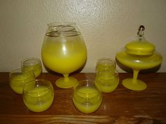 Vintage 1950's Blendo Yellow Satin Brandy Sniffer, Lowball Glasses & Candy Dish SOLD