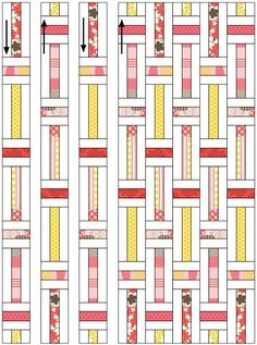 """Lawn Chair Quilts « Moda Bake Shop. Could also do as 3"""" x 6"""" using 1 1/2"""" strips, reverse white and colors."""