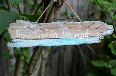Hand Painted Driftwood Sign  Home is Where the by ElaLakeDesign, $19.75