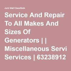 Service and repair to all makes and sizes of Generators and motorized equipment. Call us today for peace of mind bef.