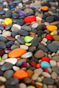 A garden that rocks:  create a colorful welcome by turning plain stones into a whimsical surprise by painting some of them.