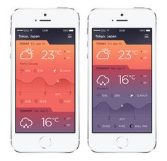 iPhone Weather App - love the colours, and the interface. #ui #ux #userexperience