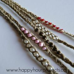 """""""Wish"""" Bracelets - cute design...try using different beads and cord/ribbon"""