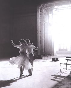 Fred Astaire and Audrey Hepburn rehearsing for Funny Face (1957). Photographed by Richard Avedon.