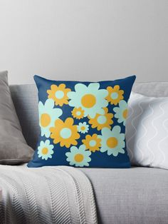 """Cheerful Flowers 6 in Mustard Yellow and Mint Aqua Teal on Navy Blue. Cute Minimalist Floral Pattern"" Throw Pillow by kierkegaard 