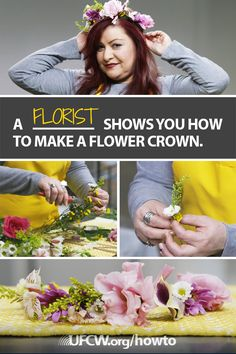 Watch United Food and Commercial Workers International Union (UFCW) member Michelle Garrett, Kroger florist and member of UFCW Local 1000, show you how to create a gorgeous flower crown—perfect for weddings or music festivals. Visit ufcw.org/how-tos/ to subscribe to UFCW's DIY tips from more experts in our union family.