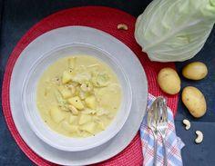Curry de pommes de terre au chou vert Curry, Vegan, Ethnic Recipes, Dahl, Food, Collard Greens, Mustard Seed, Coconut Cream, Sprouts