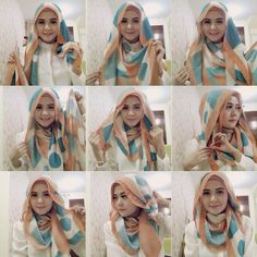 17 Cute Hijab Styles for Round Face With Simple Tutorials Be careful with your face shape. sometimes this tutorial is not suitable for everyone, especially for me, round face. Turkish Hijab Tutorial, Simple Hijab Tutorial, Hijab Style Tutorial, Stylish Hijab, Hijab Chic, Islamic Fashion, Muslim Fashion, Women's Fashion, Hijab Styles For Party