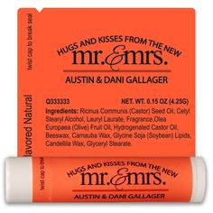 Check out this customizable product from www.totallypromotional.com/lip-balms/all-natural-beeswax-lip-balm/wedding-lip-balm-template-2298.html