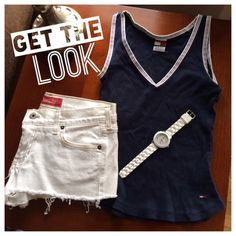 Bundle White Denim Hollister Shorts &TommyH Top Bundle of NWOT White Denim Hollister Shorts (Size 7) and Navy Tommy Hilfiger Top (Size Small). Top is Preloved but in great shape.  Adorable summer outfit!  (Watch not included) Hollister Jeans