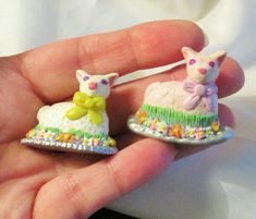 LAMB MAGNETS - Set of 2 - Polymer Clay Folk Art frig Easter Cake Flowers animals
