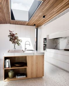 Polished concrete floor, timber kitchen island, marble bench top & timber detailing on the ceiling - Tenplestow House, my dream kitchen! styled by Ruth Welsh & designed by Lori Blachford - Kitchen Today Interior Modern, Kitchen Interior, Interior Architecture, Interior Design, Timber Kitchen, New Kitchen, Kitchen White, Kitchen Ideas, Kitchen Decor