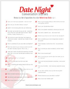 Here's a free #printable sheet of 30 Conversation Starters for Couples!  #valentine #valentinesday