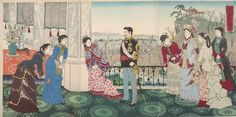 Kobayashi Kiyochika: Triptych: Emperor Meiji and His Consort in the Plum Garden (Miyo shun'e no baien), Meiji period, dated 1887 - Harvard Art Museum Japanese Painting, Japanese Art, Asian History, Art History, Era Meiji, Plum Garden, Mediterranean Art, Modern Japanese Architecture, Tokyo Museum