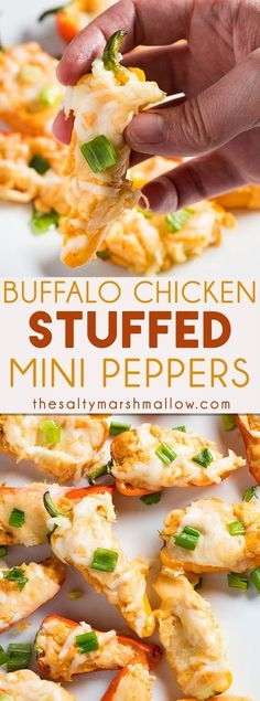 Buffalo Chicken Stuffed Mini Bell Peppers are a fun and easy appetizer for a crowd that's sure to have everyone coming back for more! Mini peppers stuffed with a tasty mixture of cream cheese, shredded chicken, buffalo sauce, and shredded cheese! Buffalo Chicken Stuffed Peppers, Stuffed Mini Peppers, Cream Cheese Stuffed Peppers, Healthy Stuffed Bell Peppers, Appetizers For A Crowd, Appetizer Recipes, Mini Appetizers, Cheese Appetizers, Healthy Appetizers