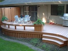 I like the overhang idea with the rest of the deck exposed to the elements; much like our smaller space off our 5th wheel trailer. patio furniture has to con stantly be changed out; summer, winter, day-night? OK, I'm eccentric!