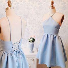 2017 Junior Simple New Blue Halter Homecoming Dress, Short Custom Prom Dresses, PD0351