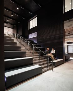 Digital Media Company Headquarters - New York City - Office Snapshots Tiered Seating, City Office, Steel Columns, Stadium Seats, Workplace Design, Interior Stairs, Sport, Digital Media, Brick Wall