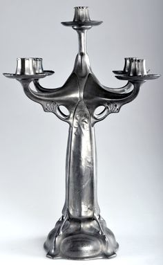 HUGO LEVEN for KAYSERZINN, pewter candelabra, 1902-1904, missing bobeches, 48cm H.