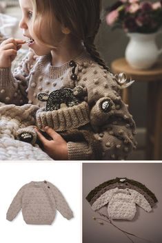There is a closure on the shoulder, with handmade little wooden, which allows an easy way to dress your little one. Moreover the sweater is knitted with a raglan fit for a perfect fit over little shoulders. Photo by Cute Sweaters, Baby Sweaters, Fresh Delivery, Kids Fashion Boy, Organic Baby Clothes, Cotton Sweater, Hand Knitting, Merino Wool, Perfect Fit