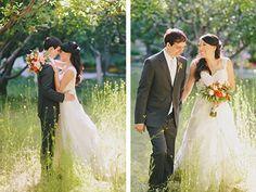 Orange and white bridal bouquet. Violetta Flowers, San Francisco.
