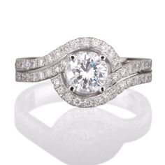 Round diamond Halo Engagement ring with 52 side by sarinadiamond, $3118.00