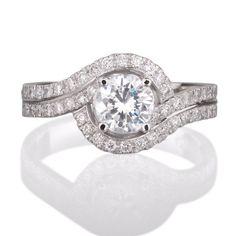 Round diamond Halo Engagement ring with 52 side by sarinadiamond, $3118.00