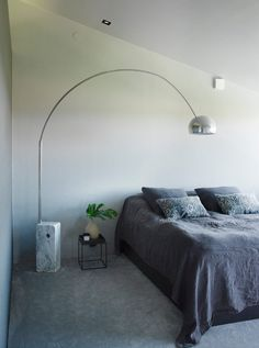 arco lamp in bedroom looks pretty damned cool! Arco Lamps, Interior Design Bedroom, Interior Design, Furniture, Bed, Bedroom Interior, Home, Bedroom Inspirations, Home Decor