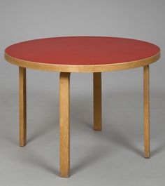 Alvar Aalto; Laminated Birch and Linoleum Table for Artek, 1950.