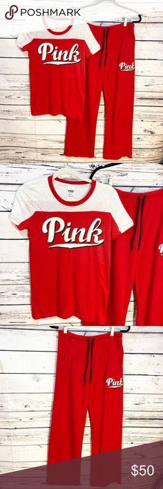 Pink VS Bundle  Joggers   T-Shirt  Red   White EUC Pink Victoria s 9b6ee47174e